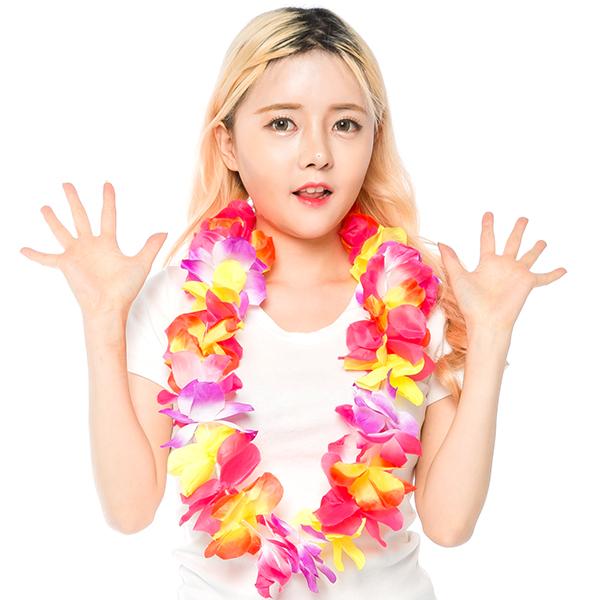 하와이안파티꽃레이목걸이/이벤트/머리띠/팔찌/행