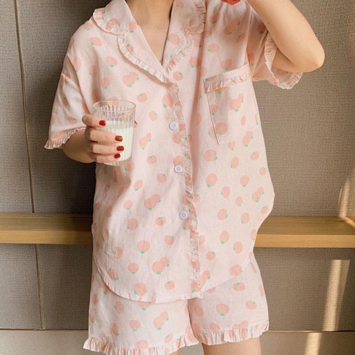 핑크 오렌지 잠옷