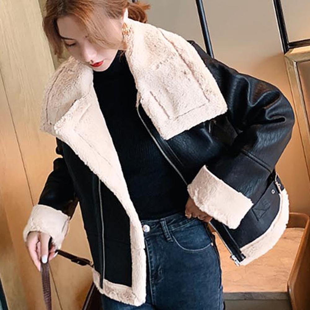 여자 겨울 무스탕 코트 매끈한 디자인 안감퍼 코디